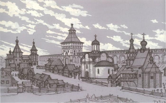 У Арбатских ворот Белого города в начале XVII века. Реконструкция В. А. Рябова.