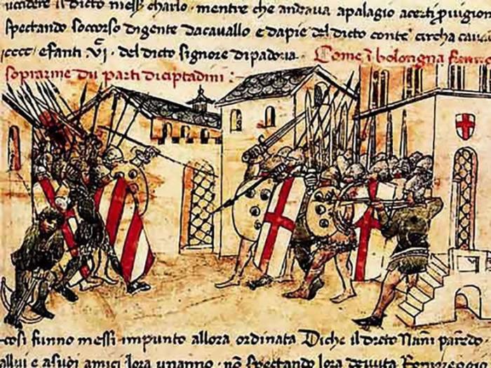 Конфликт XIV века между ополченцами группировок Гвельфа и Гибеллина в коммуне Болоньи. Джованни Серкамби из Лукки.